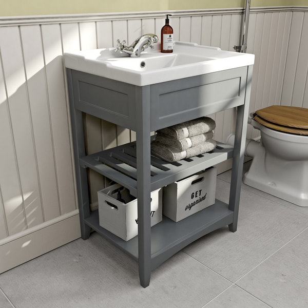 The Bath Co. Camberley satin grey washstand with traditional basin