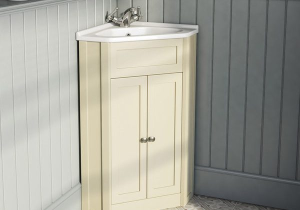 The Bath Co. Camberley satin ivory corner unit and basin