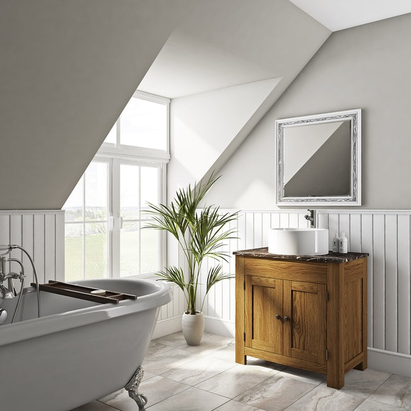 The Bath Co. Chester oak washstand with brown marble top