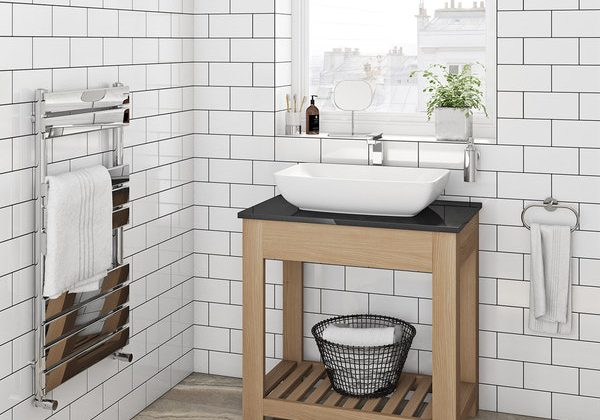 The Bath Co. Hoxton oak washstand with black marble top